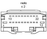 Dodge Caliber (2010-2011), Dakota (2010-2011), Jeep Compass (2010-2011),  Patriot (2010-2011) P05064953AE Head Unit pinout diagram @ pinoutguide.comPinoutGuide.com