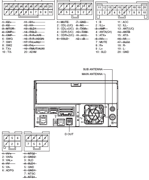 Lexus ES350 (2006-2007) P1505 Head Unit Pinout Diagram