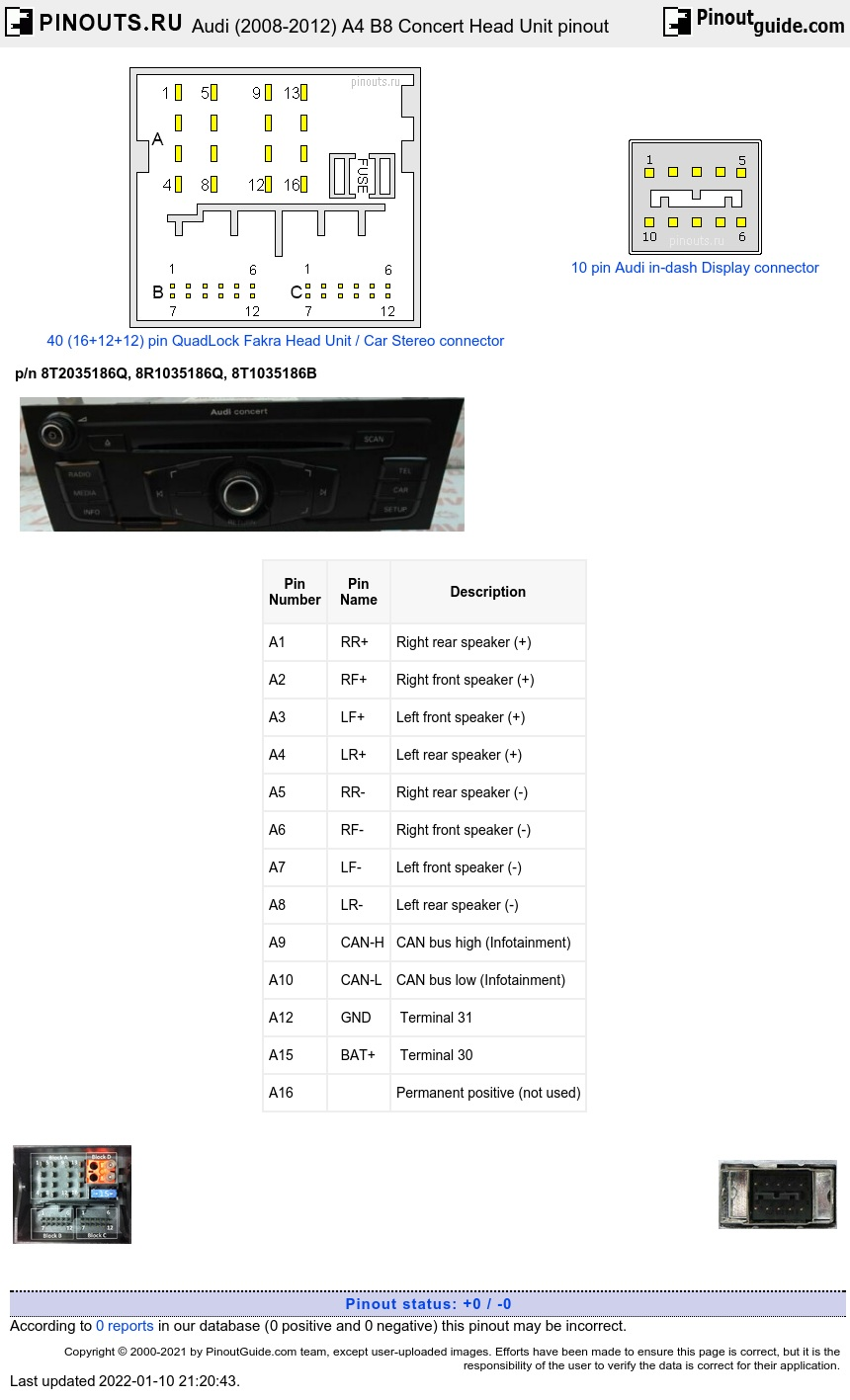 Audi A4, B8 (2008-2012) Concert Head Unit diagram