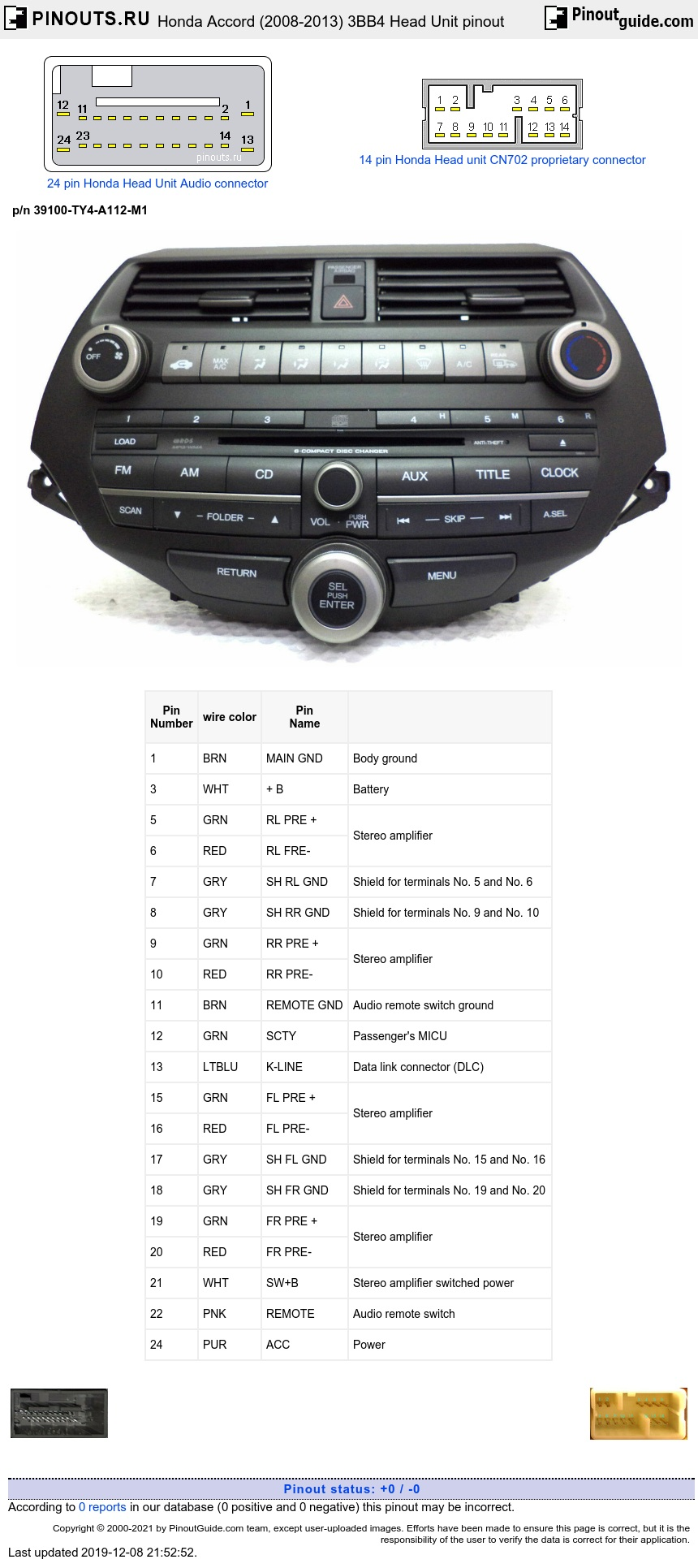 Honda Accord (2008-2013) 3BB4 Head Unit diagram
