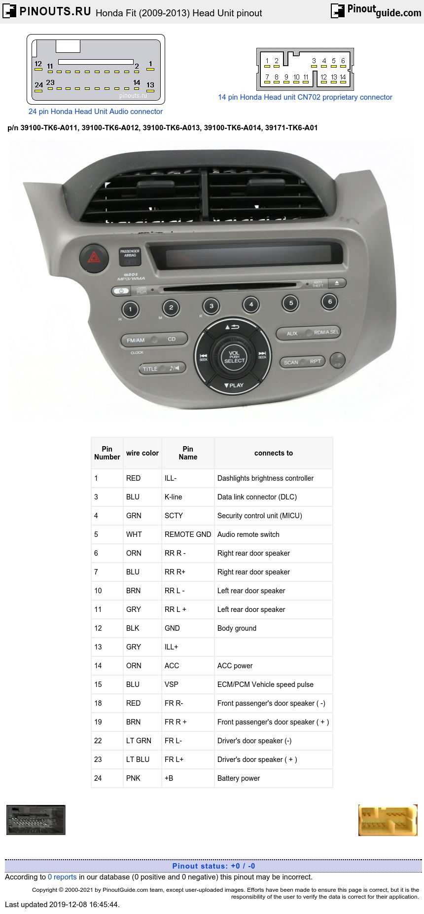 Honda Fit (2009-2013) Head Unit diagram