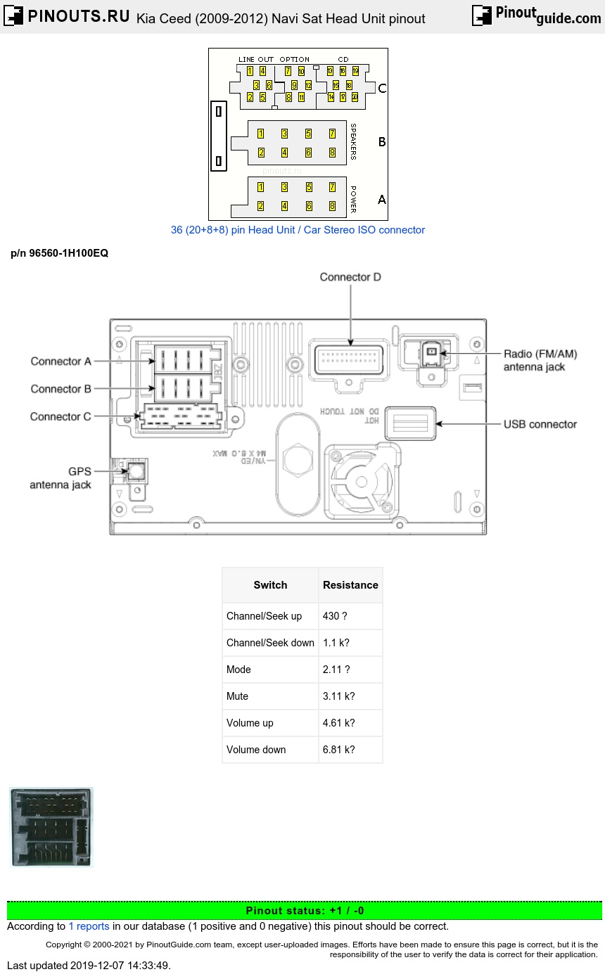 Kia Ceed (2009-2012) Navi Sat Head Unit diagram