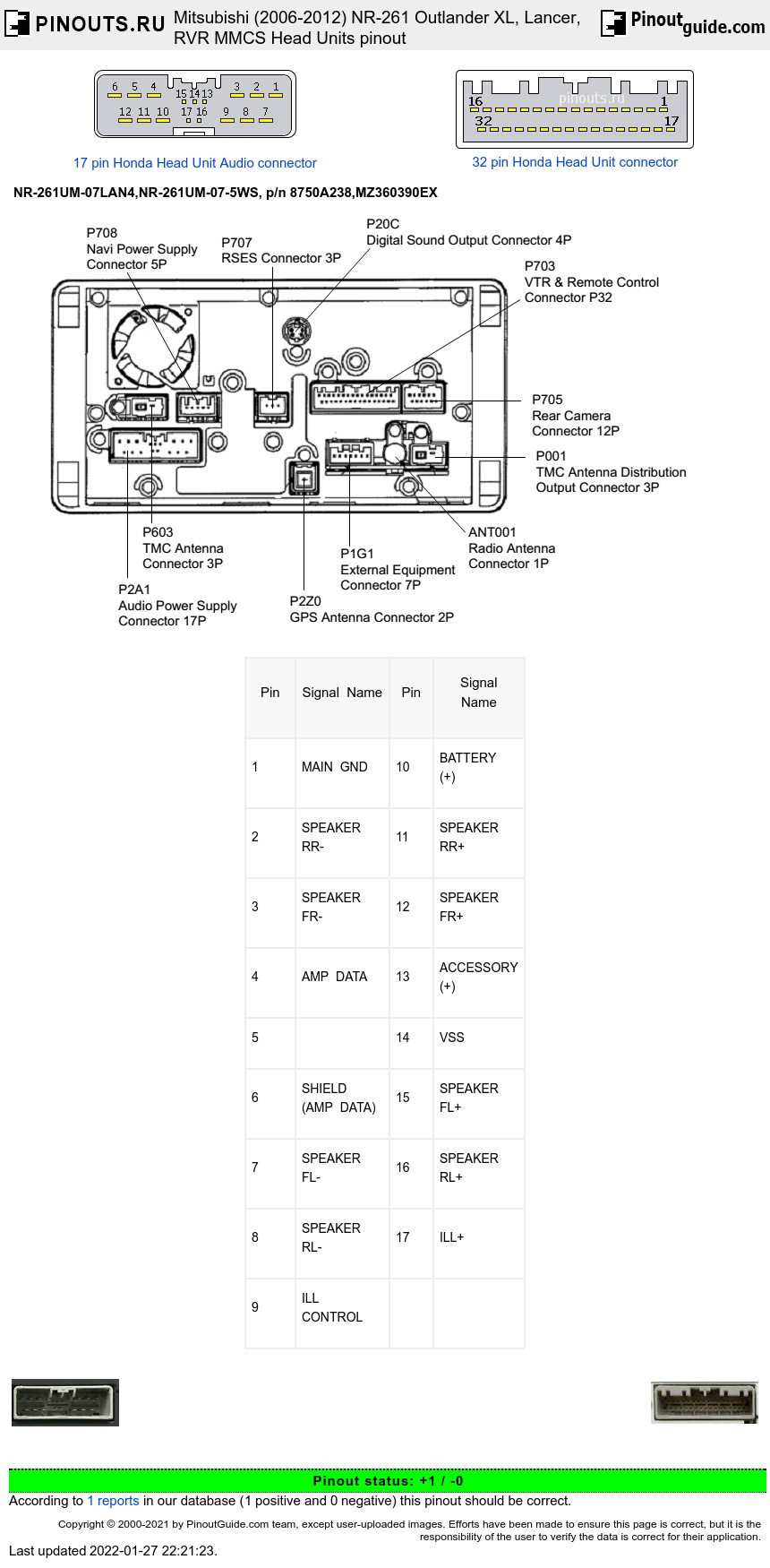 Mitsubishi MMCS NR-261UM-07LAN4,NR-261UM-07-5WS Outlander XL (2006-2012) Head Units diagram