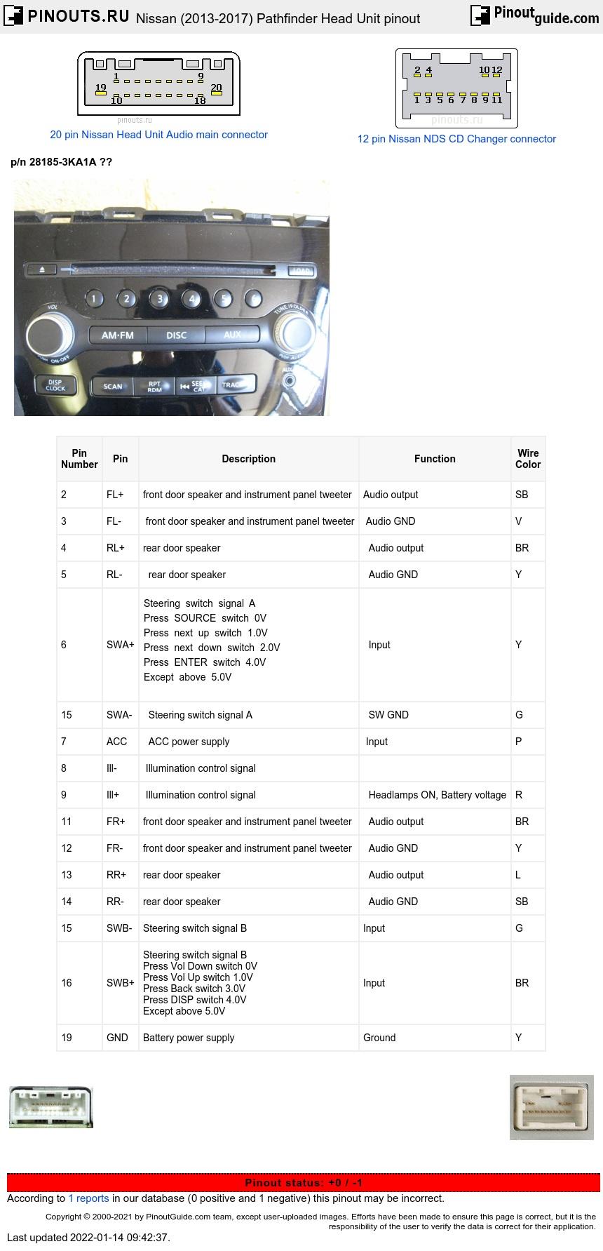 Nissan Pathfinder 2013 2017 Head Unit Pinout Diagram Pinoutguide Com
