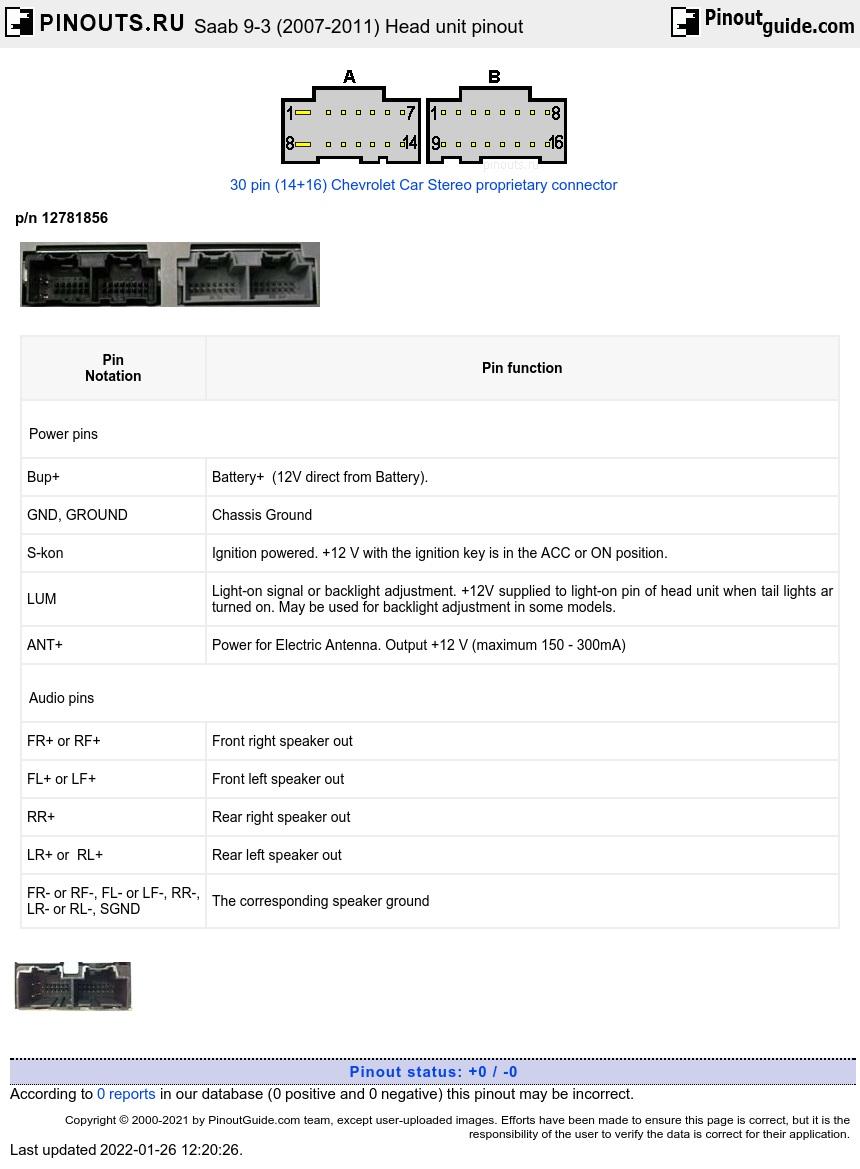Saab 9 3 2007 2011 Head Unit Pinout Diagram Pinoutguide Com