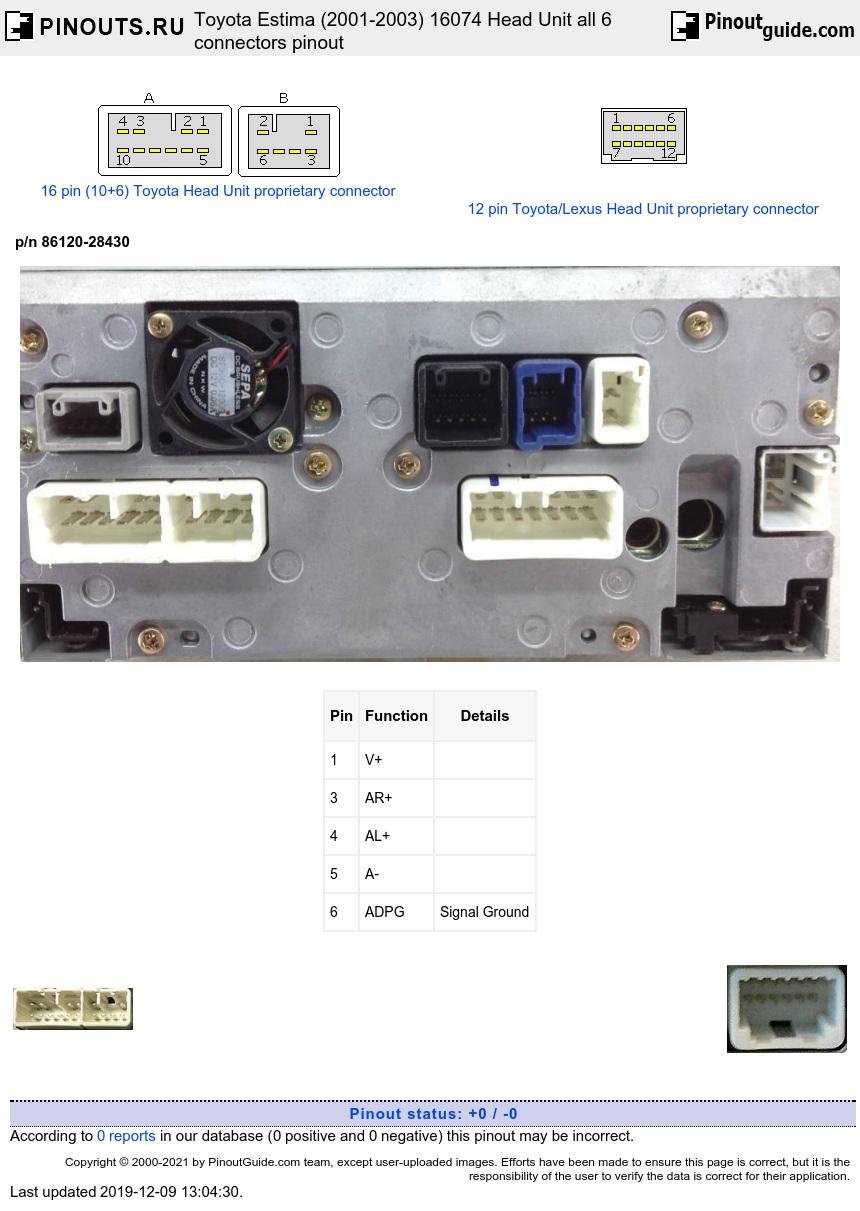 Wiring Diagram Toyota Head Unit
