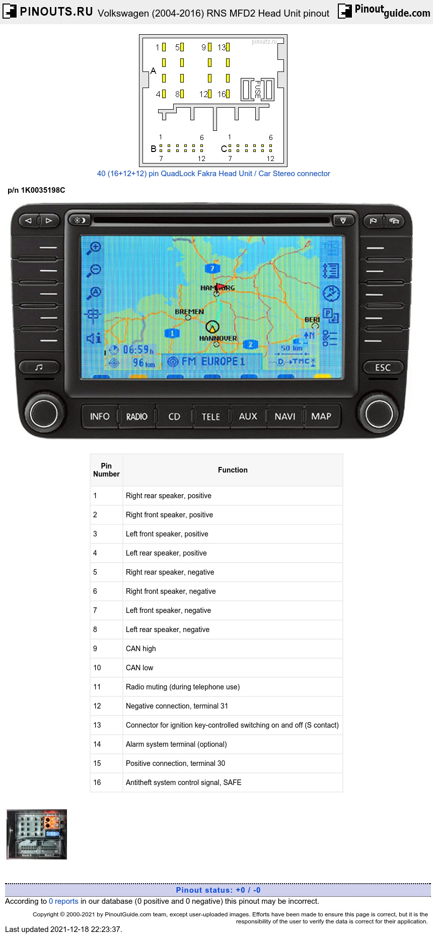 Volkswagen RNS MFD2 Head Unit diagram