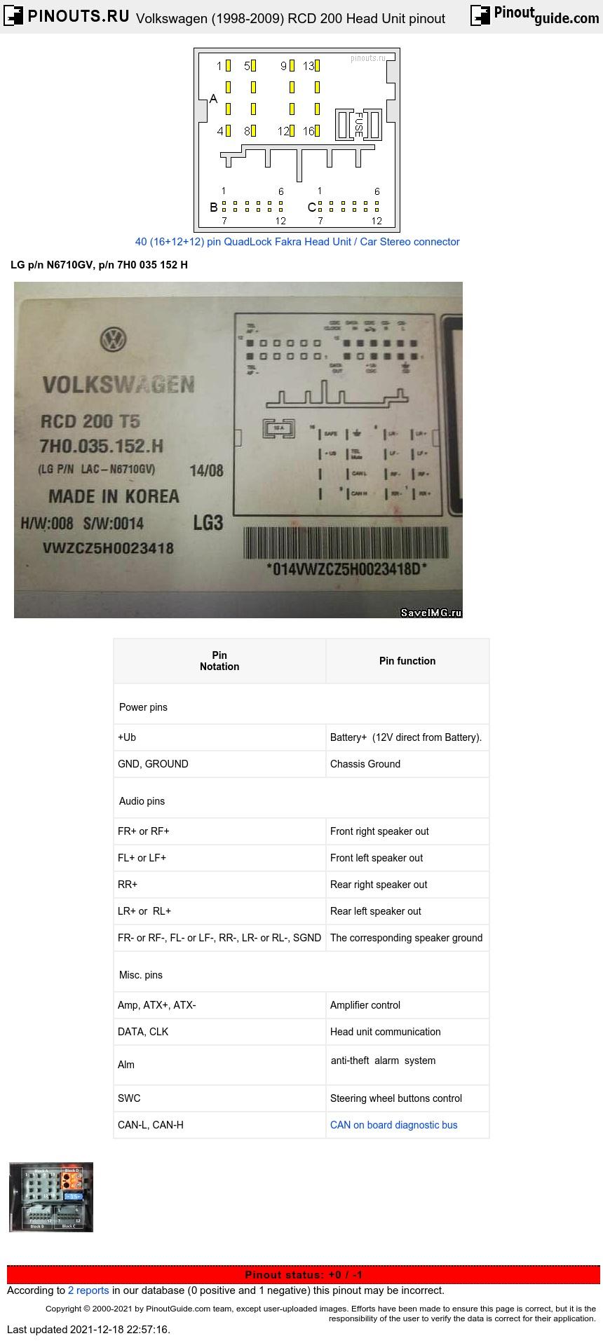 Volkswagen Rcd 200 Head Unit Pinout Diagram   Pinoutguide Com