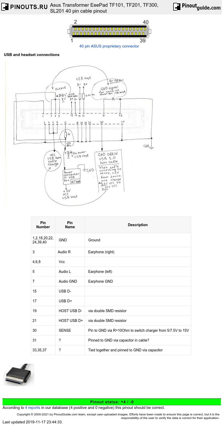 Asus Transformer Eeepad Tf101  Tf201  Tf300  Sl201 40 Pin