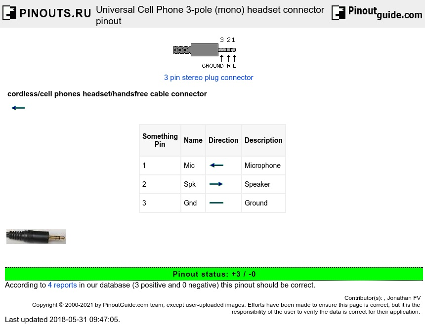 Universal Cell Phone 3-pole (mono) headset connector diagram