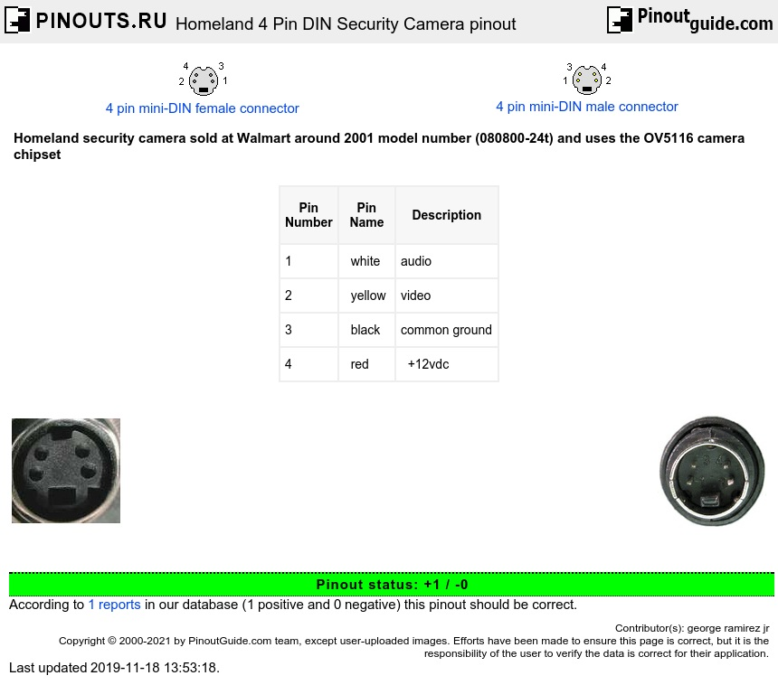 Homeland 4 Pin Din Security Camera Pinout Diagram