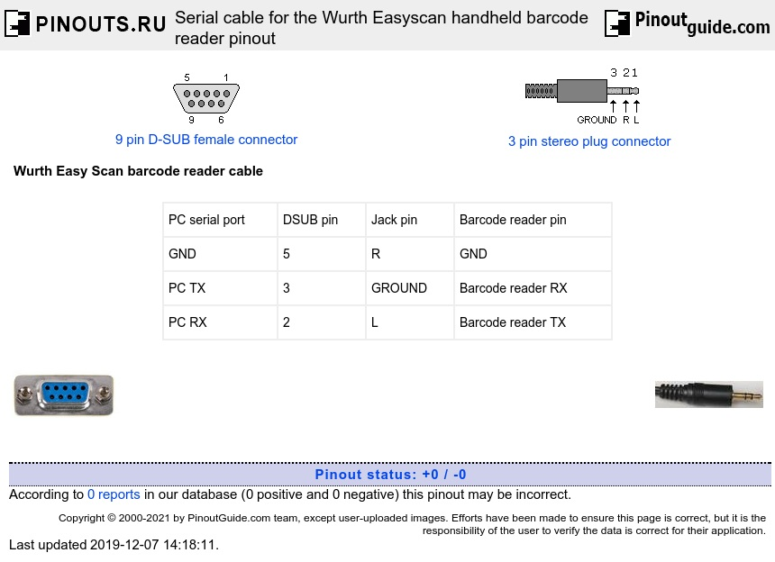 Serial cable for the Wurth Easyscan handheld barcode reader diagram